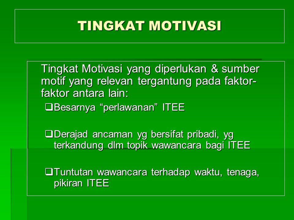 TINGKAT MOTIVASI Tingkat Motivasi yang diperlukan & sumber motif yang relevan tergantung pada faktor-faktor antara lain: