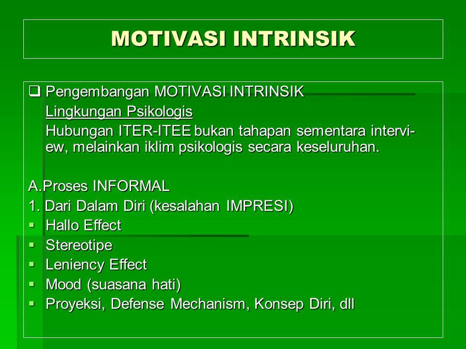 MOTIVASI INTRINSIK Pengembangan MOTIVASI INTRINSIK
