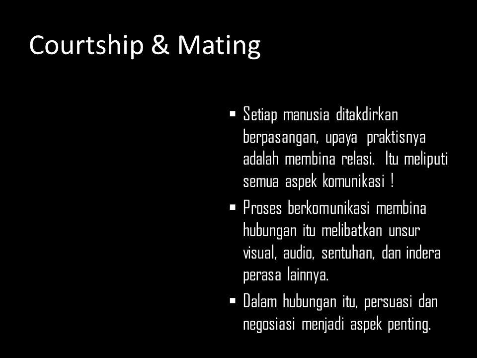 Courtship & Mating Setiap manusia ditakdirkan berpasangan, upaya praktisnya adalah membina relasi. Itu meliputi semua aspek komunikasi !