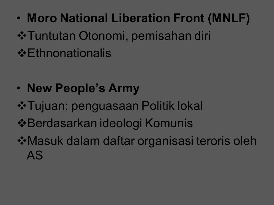 Moro National Liberation Front (MNLF)