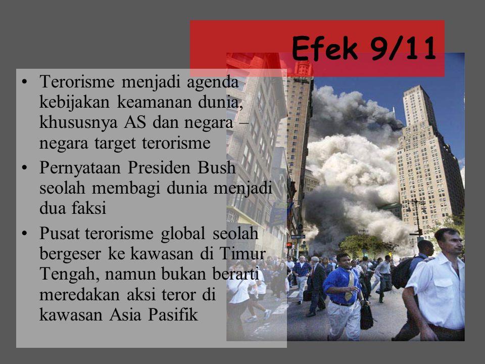 Efek 9/11 Terorisme menjadi agenda kebijakan keamanan dunia, khususnya AS dan negara – negara target terorisme.