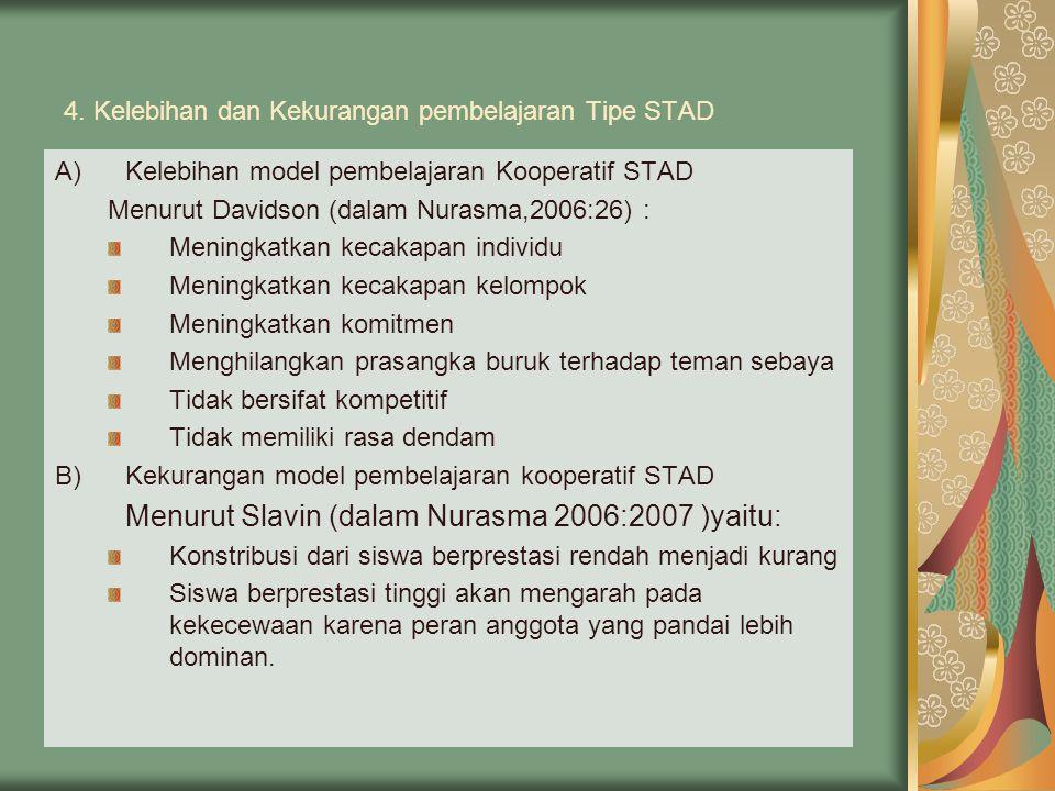 4. Kelebihan dan Kekurangan pembelajaran Tipe STAD