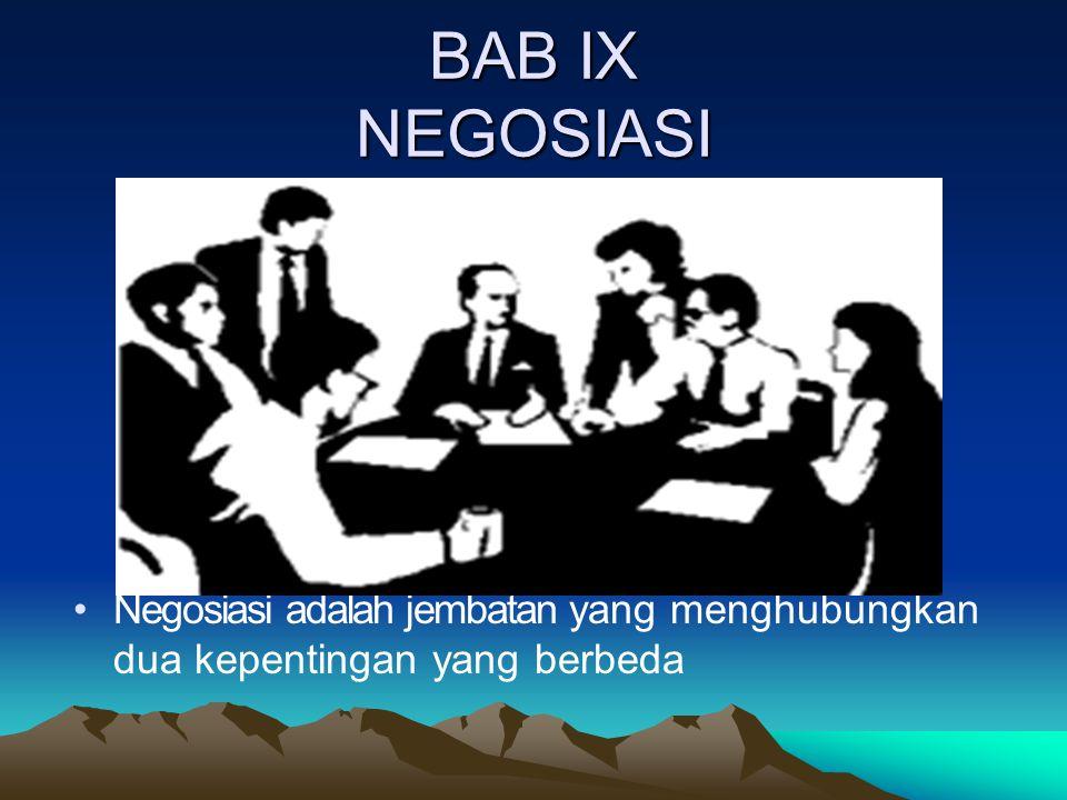 BAB IX NEGOSIASI Negosiasi adalah jembatan yang menghubungkan dua kepentingan yang berbeda