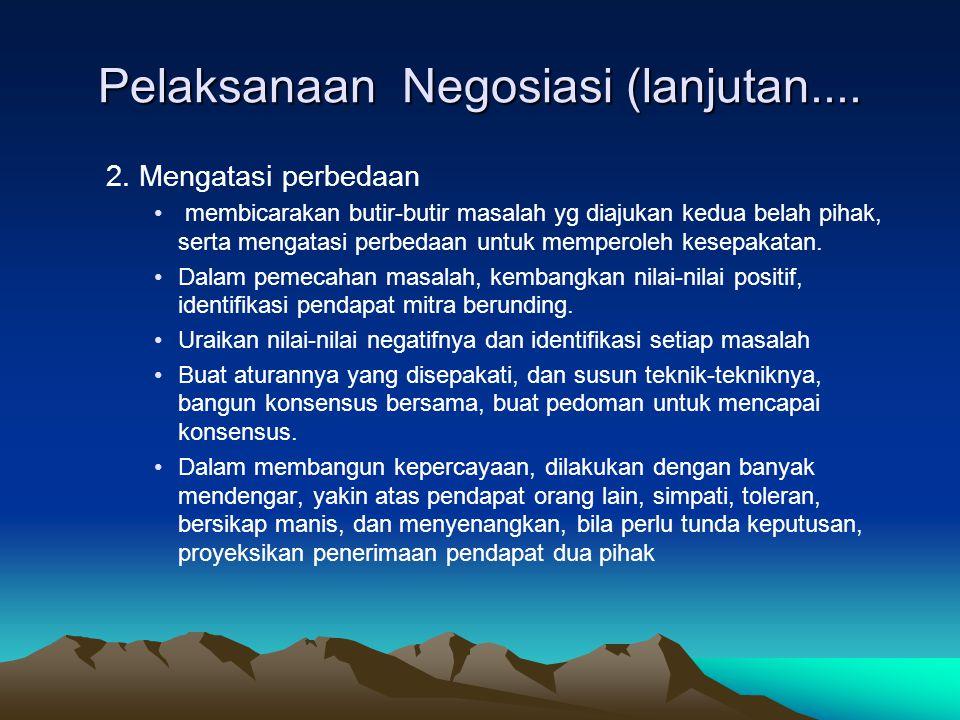 Pelaksanaan Negosiasi (lanjutan....