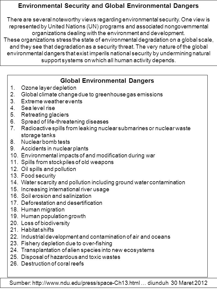Environmental Security and Global Environmental Dangers