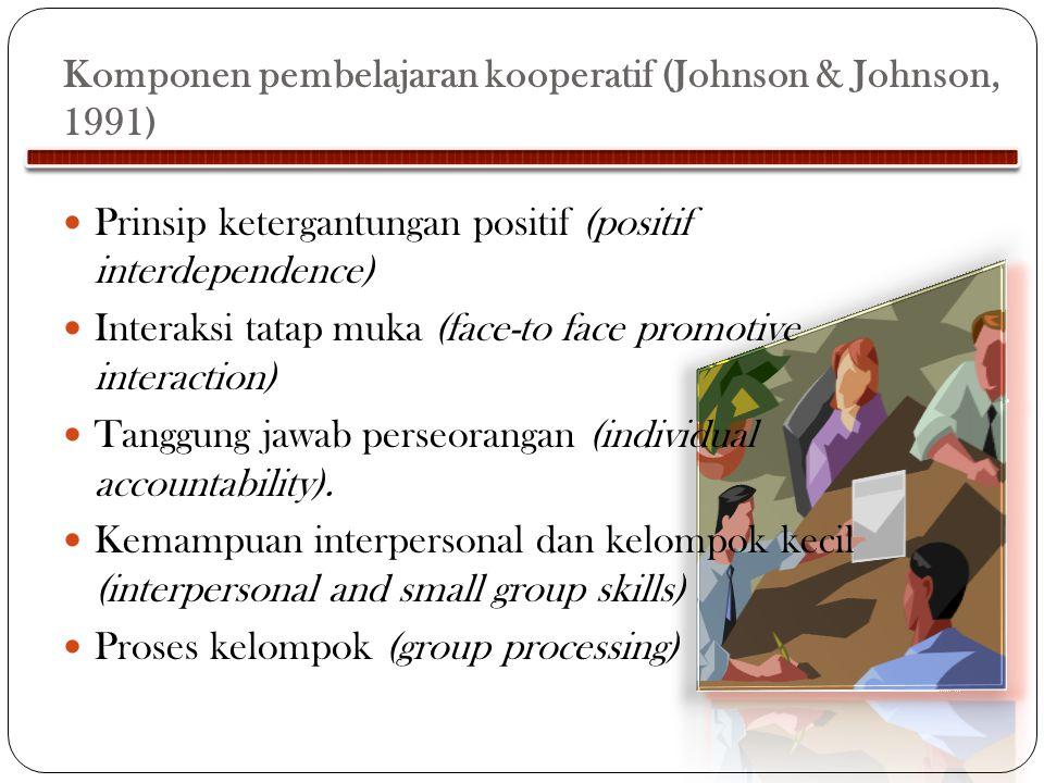 Komponen pembelajaran kooperatif (Johnson & Johnson, 1991)