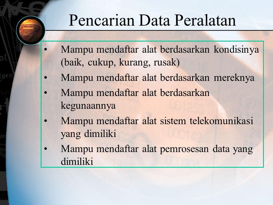 Pencarian Data Peralatan