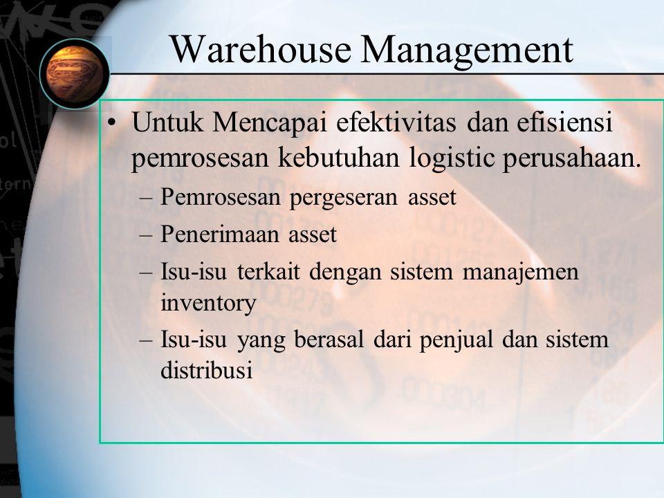 Warehouse Management Untuk Mencapai efektivitas dan efisiensi pemrosesan kebutuhan logistic perusahaan.