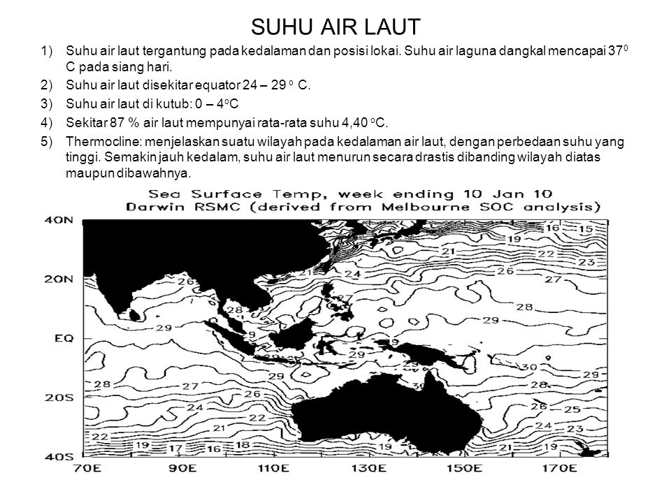 SUHU AIR LAUT Suhu air laut tergantung pada kedalaman dan posisi lokai. Suhu air laguna dangkal mencapai 370 C pada siang hari.