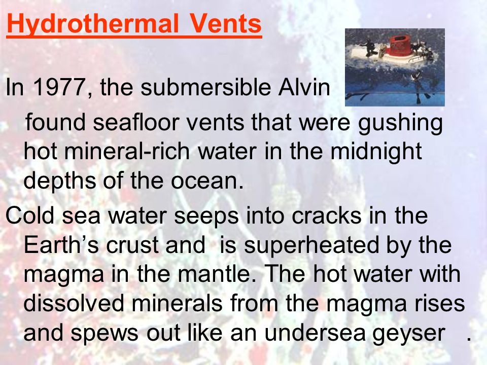Hydrothermal Vents In 1977, the submersible Alvin