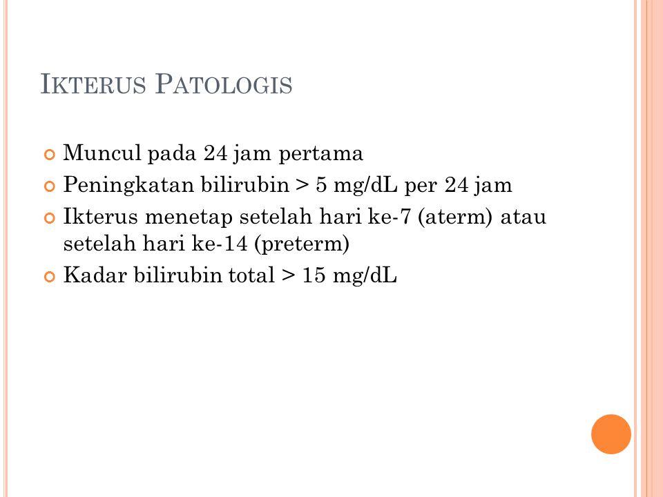 Ikterus Patologis Muncul pada 24 jam pertama