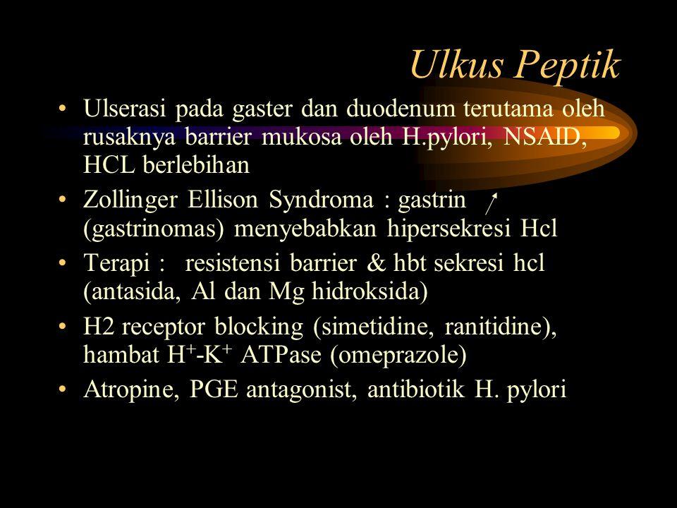 Ulkus Peptik Ulserasi pada gaster dan duodenum terutama oleh rusaknya barrier mukosa oleh H.pylori, NSAID, HCL berlebihan.