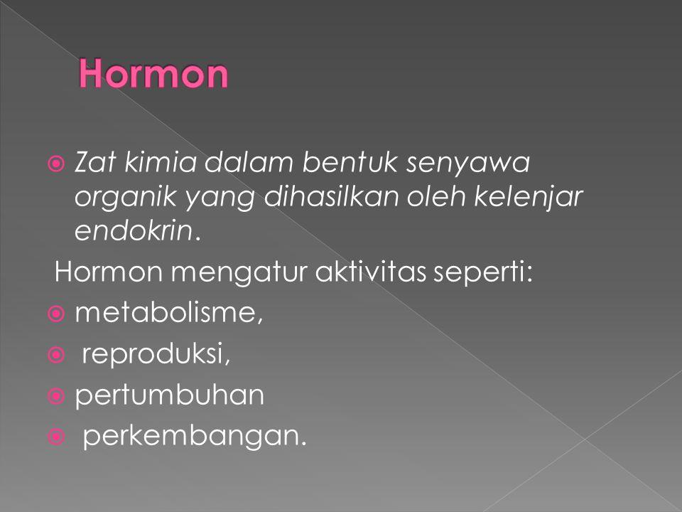 Hormon Zat kimia dalam bentuk senyawa organik yang dihasilkan oleh kelenjar endokrin. Hormon mengatur aktivitas seperti:
