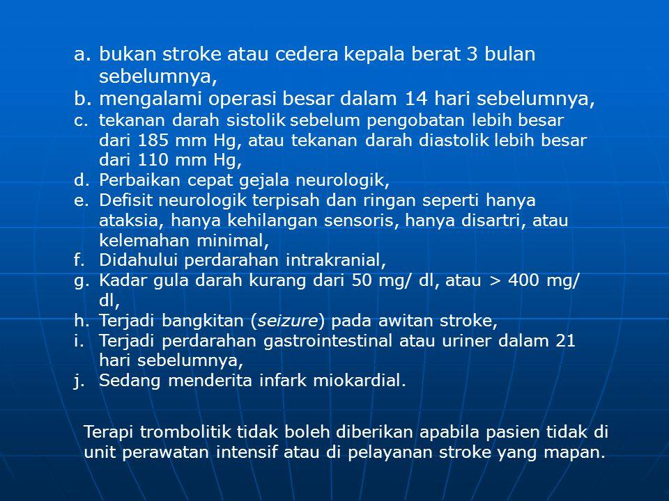 bukan stroke atau cedera kepala berat 3 bulan sebelumnya,