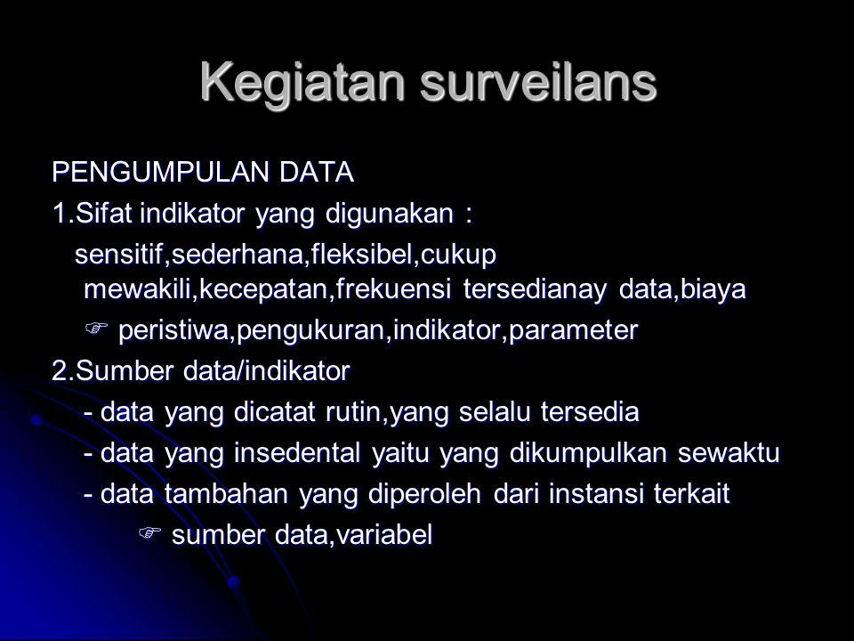 Kegiatan surveilans PENGUMPULAN DATA