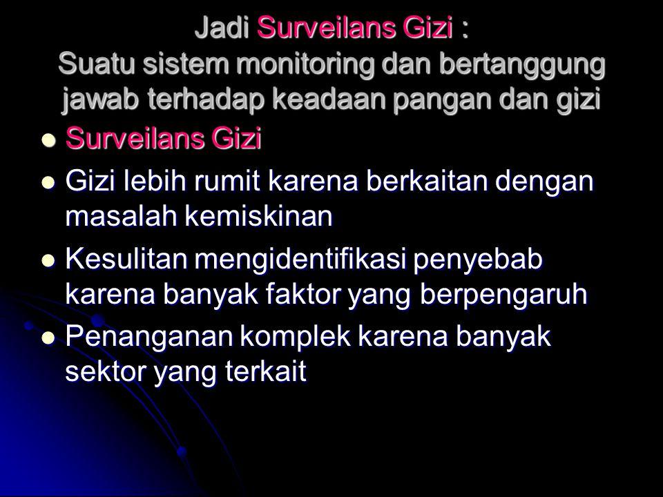 Jadi Surveilans Gizi : Suatu sistem monitoring dan bertanggung jawab terhadap keadaan pangan dan gizi