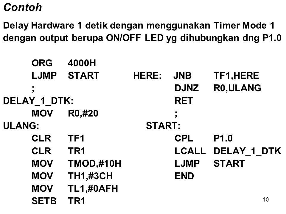 Contoh Delay Hardware 1 detik dengan menggunakan Timer Mode 1