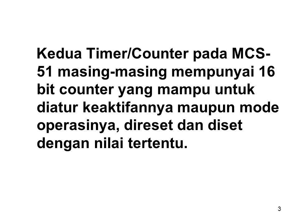 Kedua Timer/Counter pada MCS-51 masing-masing mempunyai 16 bit counter yang mampu untuk diatur keaktifannya maupun mode operasinya, direset dan diset dengan nilai tertentu.
