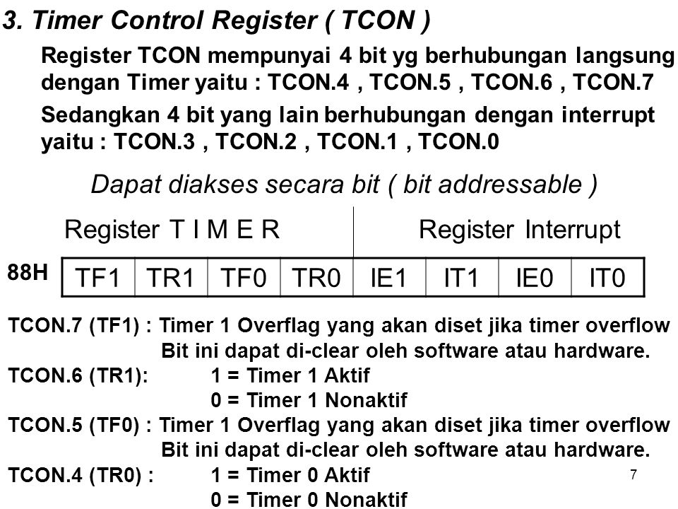 3. Timer Control Register ( TCON )