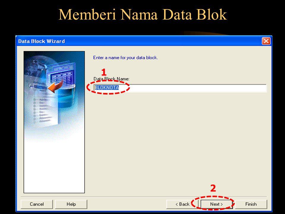 Memberi Nama Data Blok 1 2