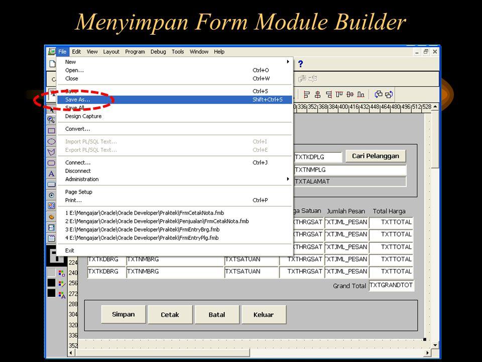 Menyimpan Form Module Builder