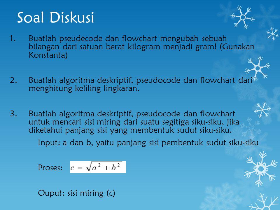 Soal Diskusi Buatlah pseudecode dan flowchart mengubah sebuah bilangan dari satuan berat kilogram menjadi gram! (Gunakan Konstanta)