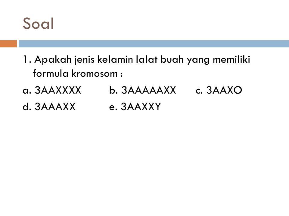 Soal 1. Apakah jenis kelamin lalat buah yang memiliki formula kromosom : a.