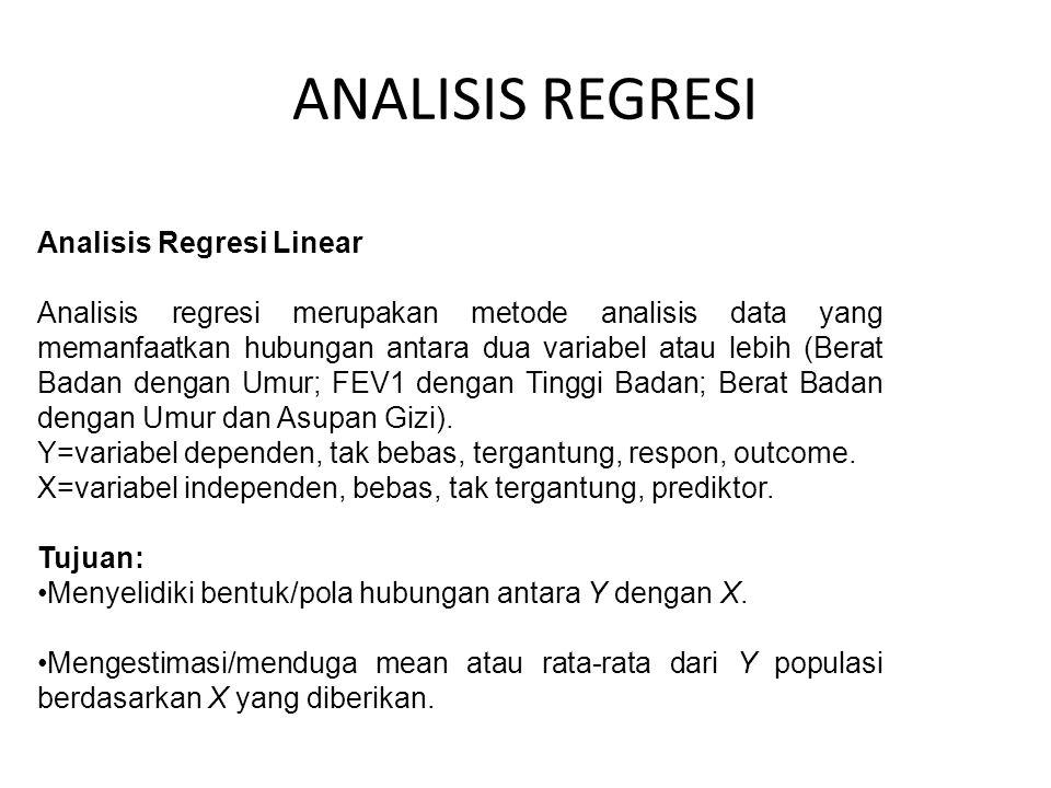 ANALISIS REGRESI Analisis Regresi Linear