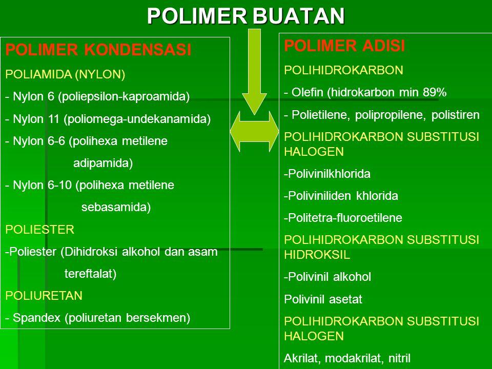 POLIMER BUATAN POLIMER ADISI POLIMER KONDENSASI POLIHIDROKARBON