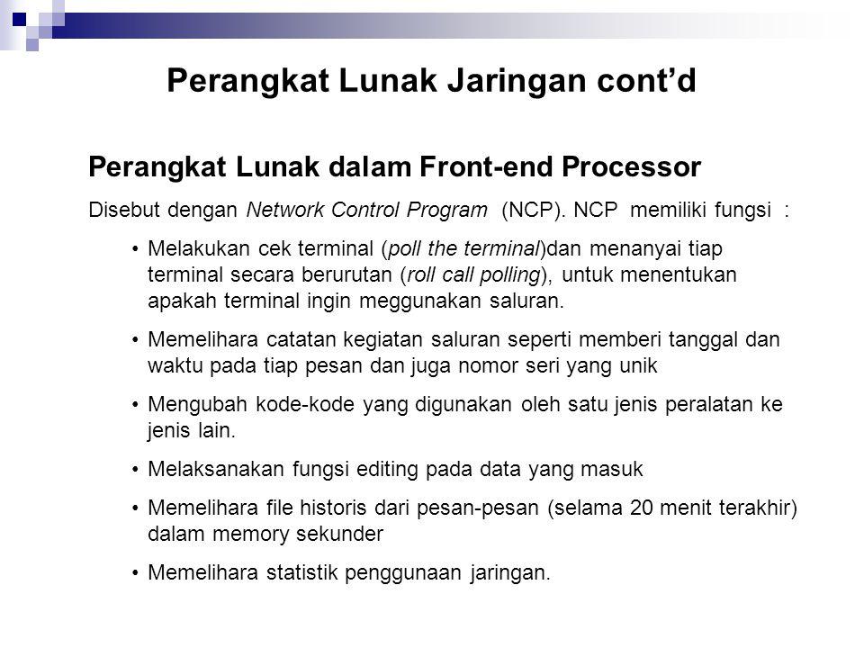 Perangkat Lunak Jaringan cont'd
