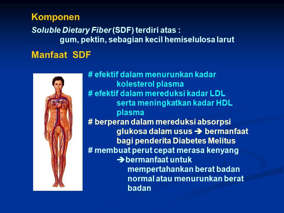 Komponen Soluble Dietary Fiber (SDF) terdiri atas :
