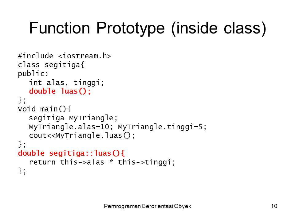 Function Prototype (inside class)