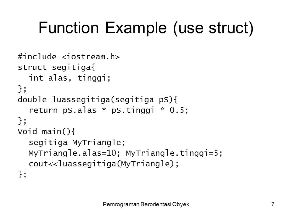 Function Example (use struct)
