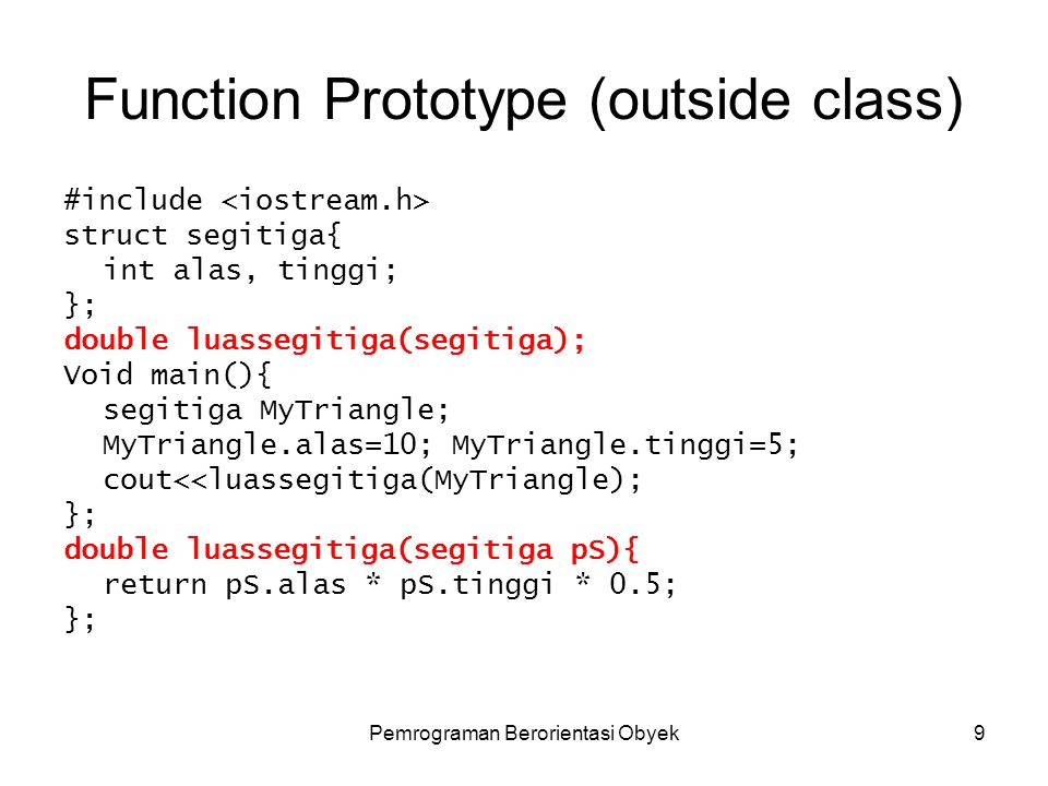 Function Prototype (outside class)
