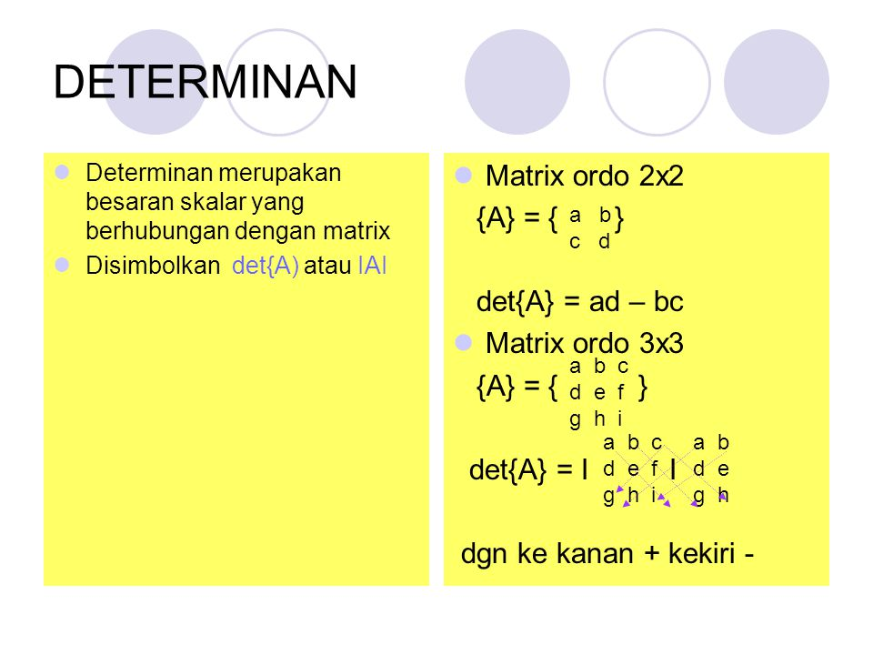 DETERMINAN Matrix ordo 2x2 {A} = { } det{A} = ad – bc Matrix ordo 3x3