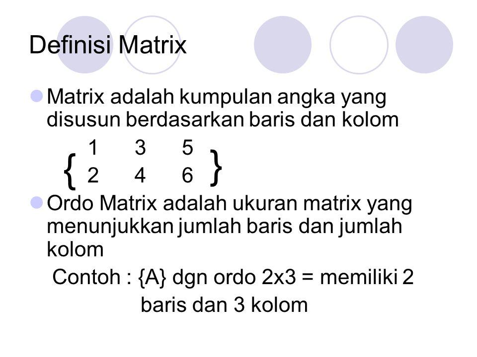 Definisi Matrix Matrix adalah kumpulan angka yang disusun berdasarkan baris dan kolom. 1 3 5.
