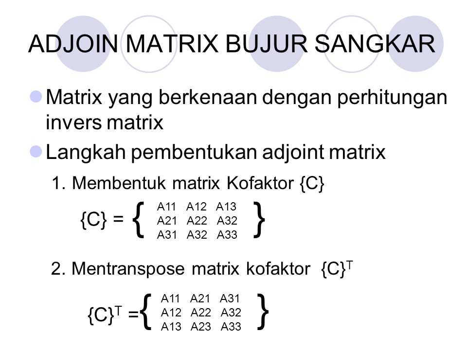 ADJOIN MATRIX BUJUR SANGKAR