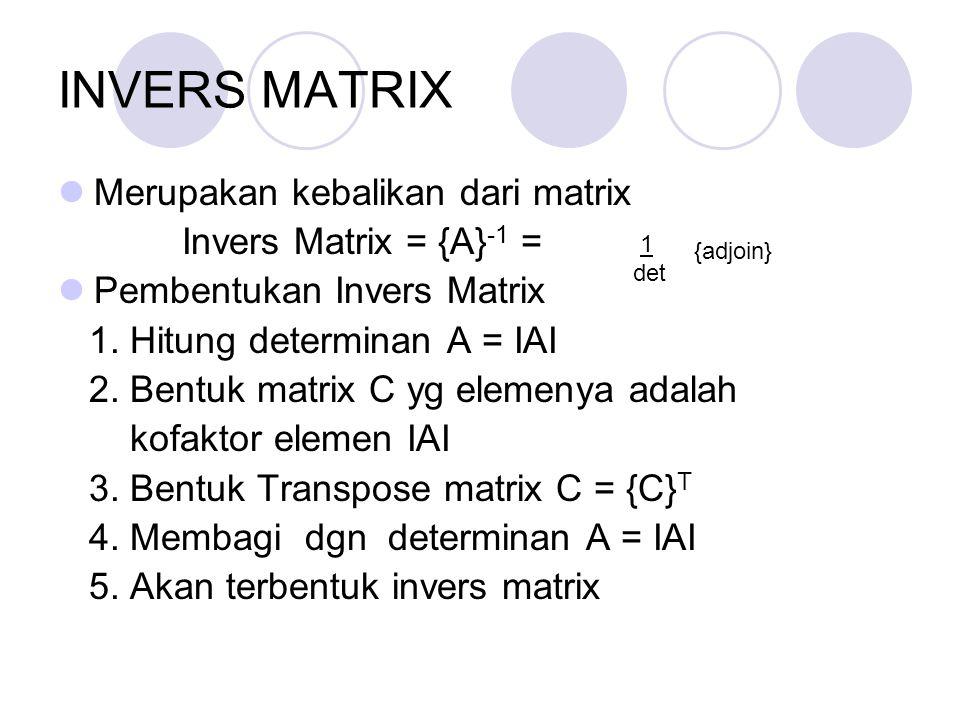 INVERS MATRIX Merupakan kebalikan dari matrix Invers Matrix = {A}-1 =