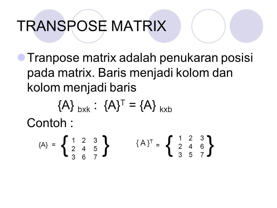 TRANSPOSE MATRIX Tranpose matrix adalah penukaran posisi pada matrix. Baris menjadi kolom dan kolom menjadi baris.