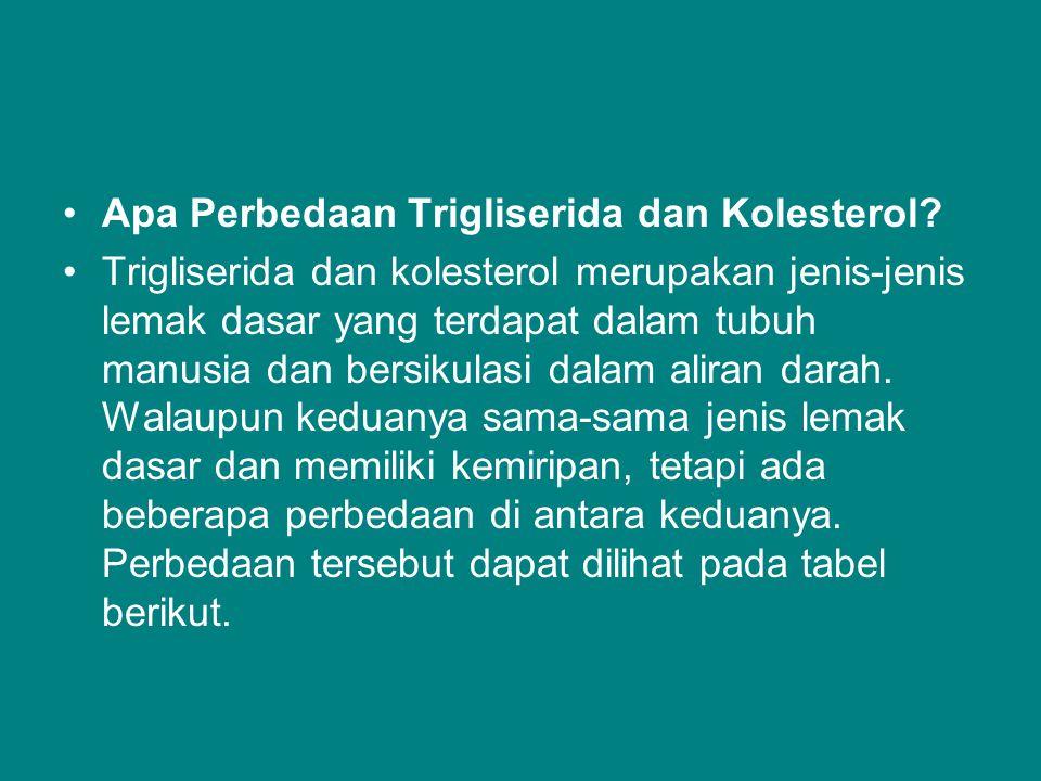 Apa Perbedaan Trigliserida dan Kolesterol