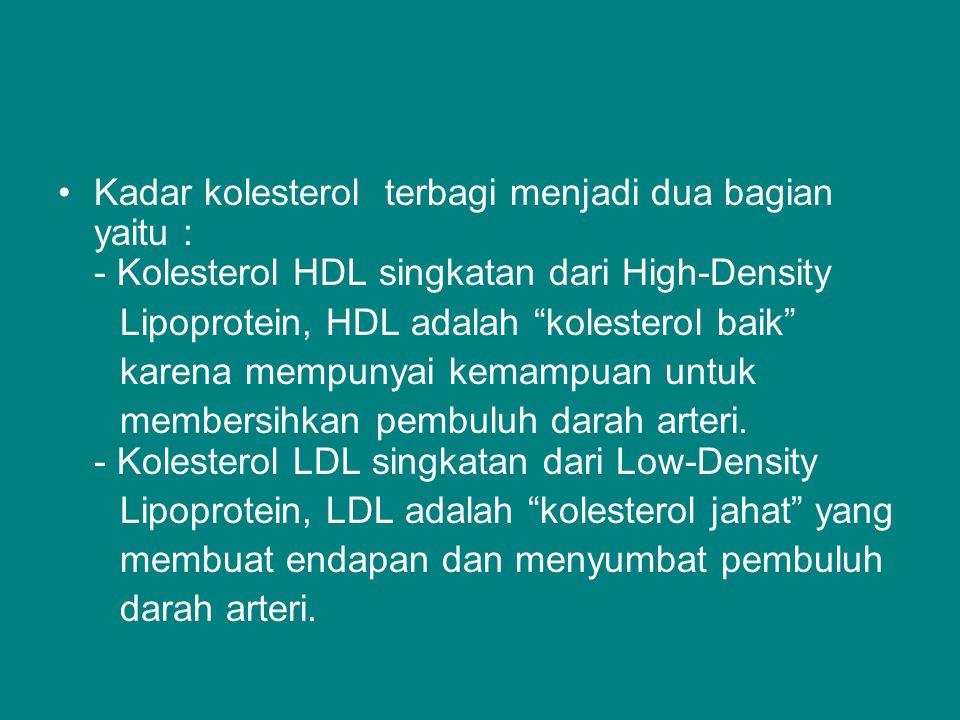 Kadar kolesterol terbagi menjadi dua bagian yaitu : - Kolesterol HDL singkatan dari High-Density