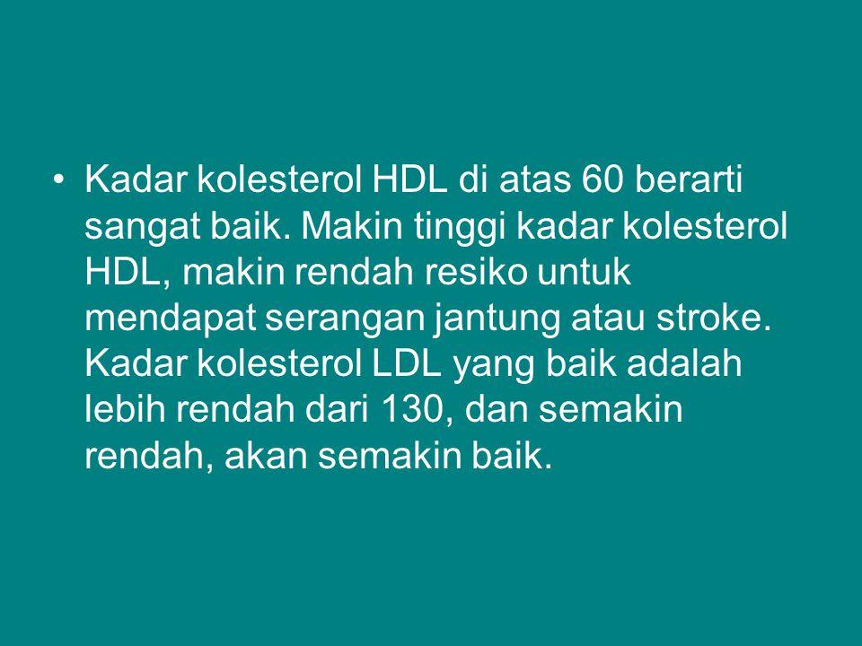 Kadar kolesterol HDL di atas 60 berarti sangat baik