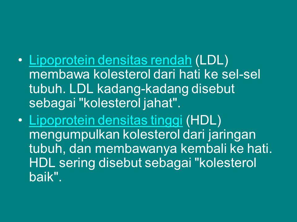 Lipoprotein densitas rendah (LDL) membawa kolesterol dari hati ke sel-sel tubuh. LDL kadang-kadang disebut sebagai kolesterol jahat .