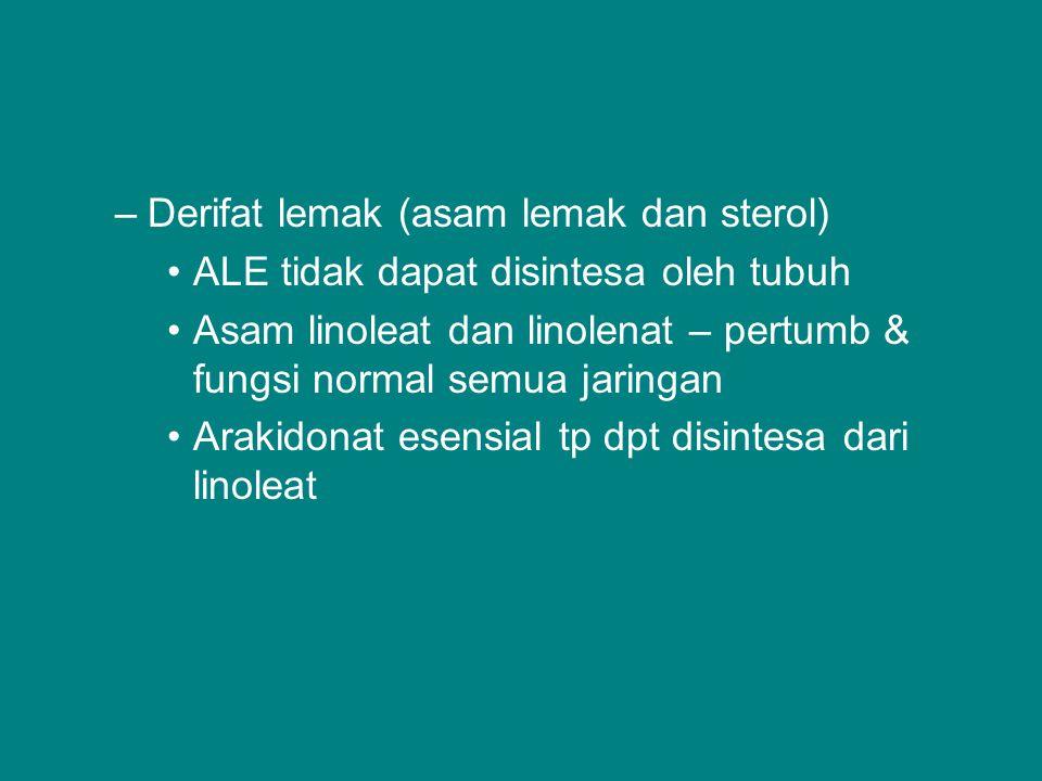 Derifat lemak (asam lemak dan sterol)