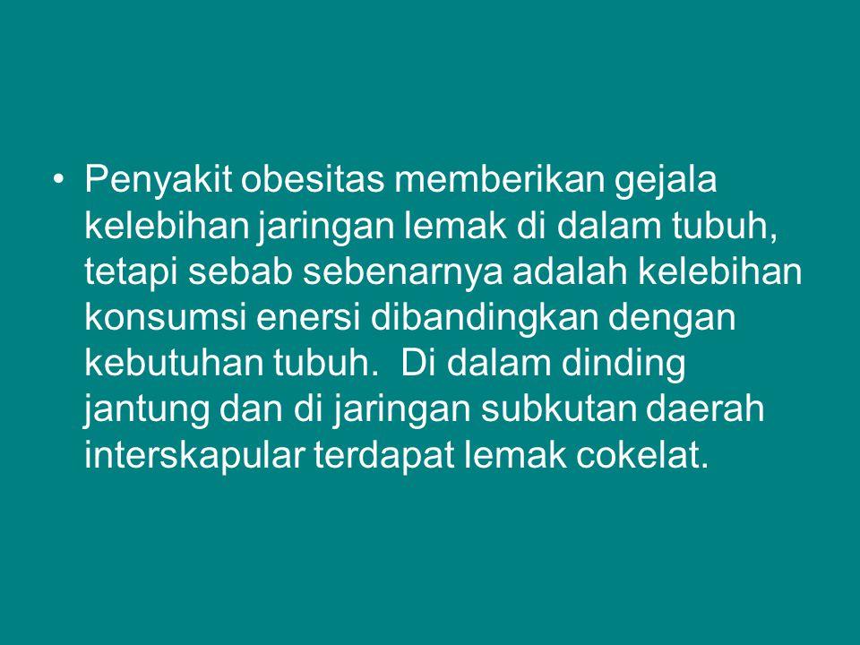 Penyakit obesitas memberikan gejala kelebihan jaringan lemak di dalam tubuh, tetapi sebab sebenarnya adalah kelebihan konsumsi enersi dibandingkan dengan kebutuhan tubuh.