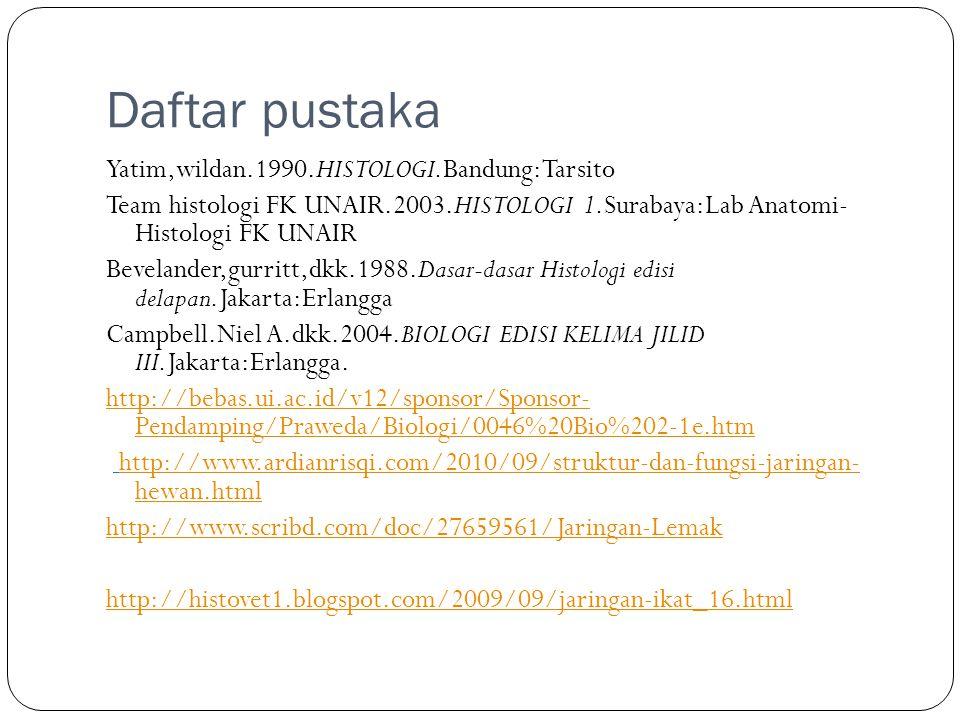Daftar pustaka Yatim,wildan.1990.HISTOLOGI.Bandung:Tarsito