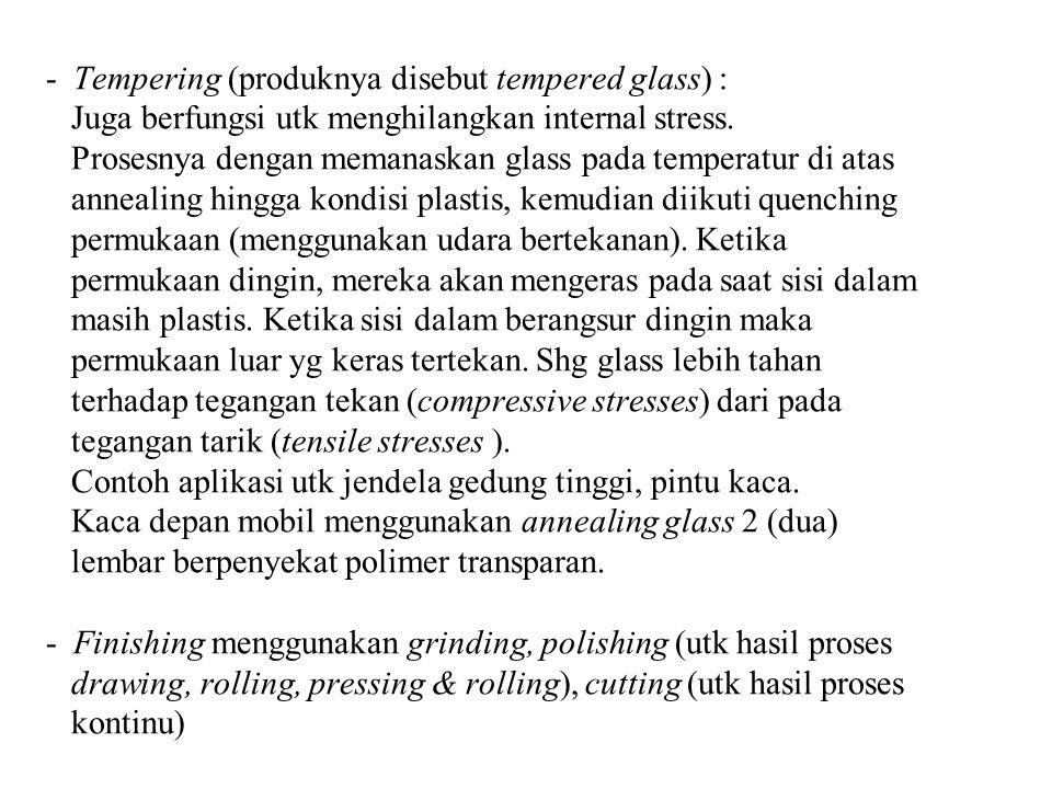 Tempering (produknya disebut tempered glass) : Juga berfungsi utk menghilangkan internal stress.