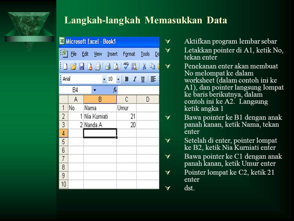 Langkah-langkah Memasukkan Data