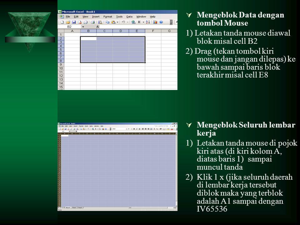 Mengeblok Data dengan tombol Mouse