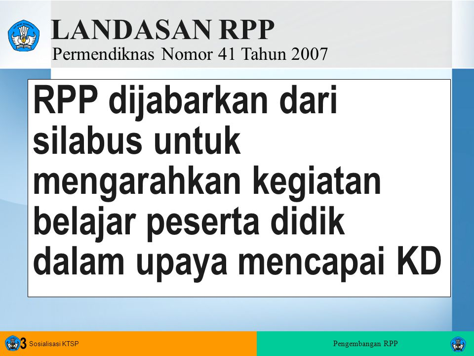 LANDASAN RPP Permendiknas Nomor 41 Tahun 2007.